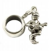 Frog Playing Guitar Sterling Silver 3D Dangle Charm / Carrier Bead